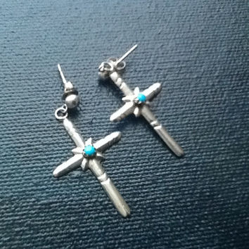 Native American Vintage Turquoise Cross post earrings/ Sterling Silver Jewelry/ Southwestern Design/style Beautiful
