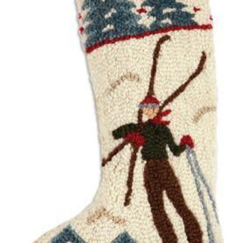 "17"" Christmas Stocking with Skier"
