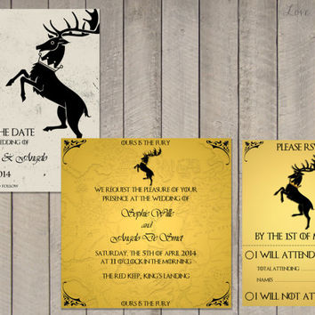 Wedding invitation Set Game of Thrones House Baratheon - Save the Date, Invitation, RSVP - Digital file