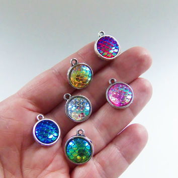 6 Mermaid scale charms, mermaid tail charms, mermaid scales, mermaid scale pendant, yellow, purple, white, pink, green, blue, scales  - F335
