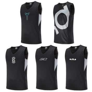 Asian Size Basketball Jerseys Kyrie Irving & Kevin Durant & Stephen Curry & Kobe Bryant Breathable Sports Shirts