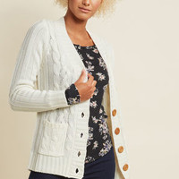 Fireside Cable Knit Cardigan in Eggshell