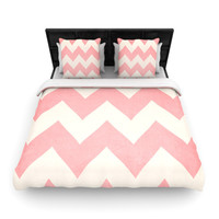 "Catherine McDonald ""Sweet Kisses"" Pink Chevron Woven Duvet Cover"