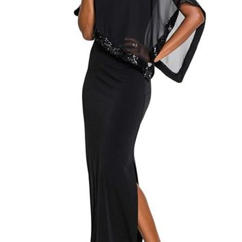 Black Sequin Mesh Overlay Poncho Maxi Party Dress