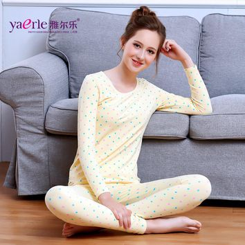 2017 Thermal Underwear Women Girls Cute Round Collar Dot Long Johns Winter Slim Fit Bottoming Shirt A Set Of Female Cloths Y3