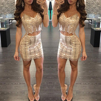 Brand gold sequins sexy sling short Dress two-piece wavy fish scales dress Shiny Royal Gift for women