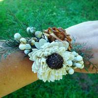 Rustic wedding corsage sola corsage wrist corsage rustic wedding woodland wedding winter wedding fall wedding dried flower corsage