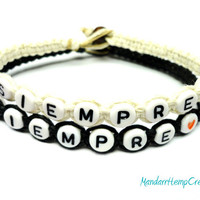 Couples Bracelet Set, Siempre, Black and White Macrame Hemp Jewelry