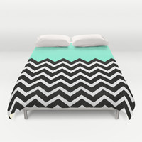 Tiffany Pastel Chevron Print Duvet Cover by RexLambo