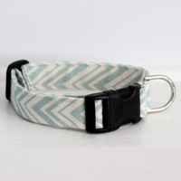Mini Chevron Organic Dog Collar in Light Turquoise