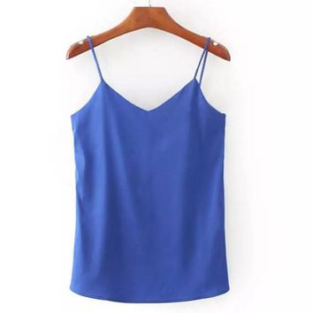 Silk Halter Top Women Camisole Summer Style Sexy Sleeveless Vest Solid Crop Top