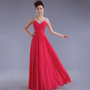 Chiffon Sequins V-neck Sleeveless Long Evening Bridesmaid Dress