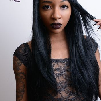 Enchantress- Long Straight Black (Lace Front Wig)