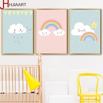 Framed Cloud Rainbow Nordic Poster Wooden Hanger Wall Art Painting Minimalist Cartoon Canvas Art Nursery Room Decoration