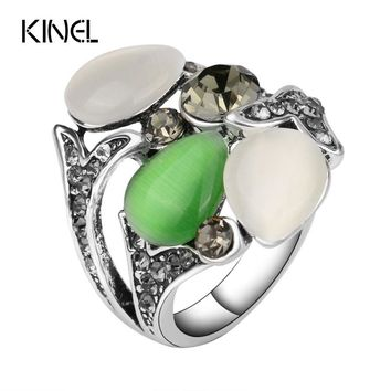 Kinel Vintage Crystal anel Jewelry Opals Wedding Rings For Women Color Silver Luxury Bohemia Style 2016 New Fashion Gifts