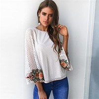 Hollow Gauze Embroidery Flower Long Sleeve Pagoda Sleeve T-shirt Women Tops