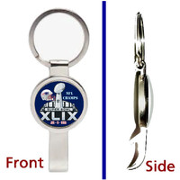 2015 Super Bowl Champion New England Patriots Pennant or Keychain silver tone secret bottle opener