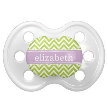 Apple Green & Lilac Purple Chevron & Monogram Pacifiers from Zazzle.com