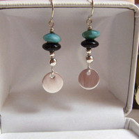 Stacked Gemstone Earrings Sterling Silver Black Onyx Blue Green Aventurine Pierced Handmade