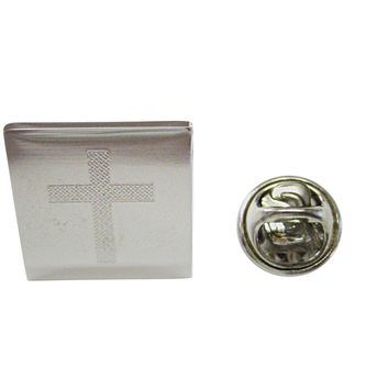 Silver Toned Etched Thick Religious Cross Lapel Pin