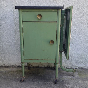 Vintage Medical Exam Metal Cabinet w/ Pop Up Shelf