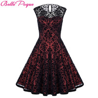 Belle Poque Summer Dresses Casual Plus Size Clothing 2017 Retro Women Vintage Lace Party Dress 50s Big Swing Rockabilly Dress