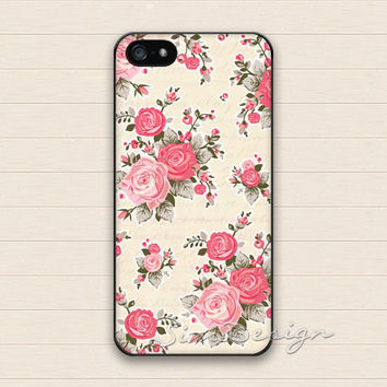 Vintage Flower iPhone 5 5s Case,iPhone 4 4s Case,iPhone 5C Case,Samsung Galaxy S3 S4 S5 Case,Flowers Floral Rose Hard Rubber Cover Case Skin