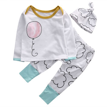 2016 Autumn style infant clothes baby clothing sets boy Cotton Long sleeve  Balloon cloud 3pcs suit baby boy clothes newborn