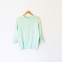 Minty Green Chunky Vintage Sweater/Vintage by thehappyforest
