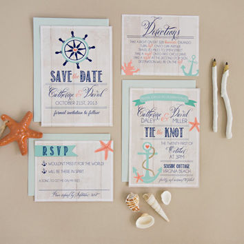 Wedding Invitation Suite Set DEPOSIT - Personalized, Digital, Printable, Custom, DIY - NAUTICAL, Beachy, Rustic (Wedding Design #1)