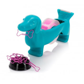 Sausage Dog Tape Dispenser with Magnetic Nose and Paper Clips