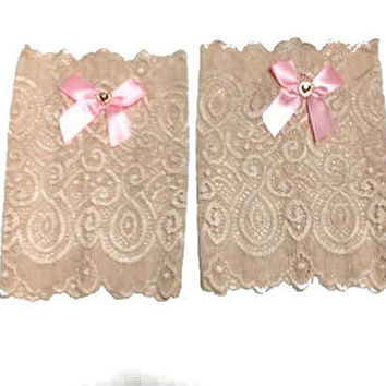 Beige Floral Scalloped Stretch Lace Satin Pink Heart Bow Peek a Boo Boot Cuffs Lacey Boot Cuffs Boot Toppers