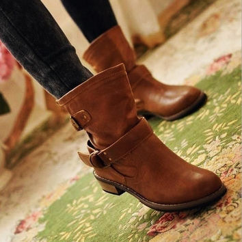 HOT!!  New Fashion women leather boots, female spring and autumn women's martin boots flat vintage buckle motorcycle boots! [9819228815]