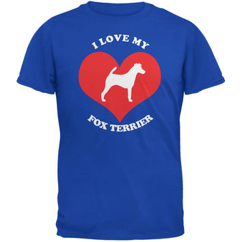 Valentines I Love My Fox Terrier Royal Adult T-Shirt