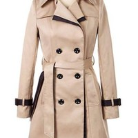 Camel Strappy Beam Waist Long Sleeve Trench Coat with Sash