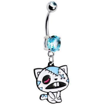 Light Blue Gem Zombie Cat Belly Ring