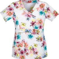 Buy Dickies Gen Flex Prism Of Posies Junior Mock Wrap Printed Scrub Top for $21.45