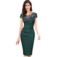 Floral Lace Embroidery  Knee-Length Dress.