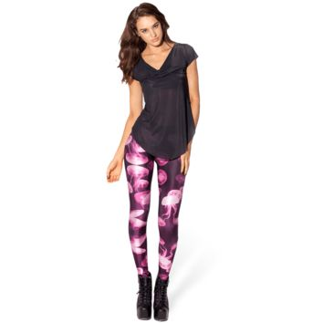 Jellyfish Digital Print Comfortable Stretch Leggings for Women in Shades of Pink