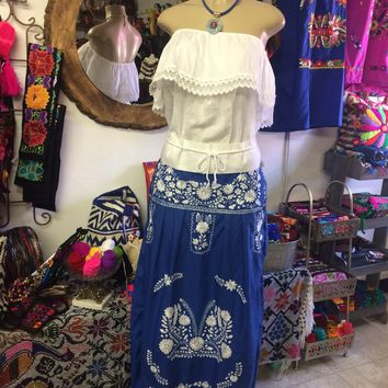 Mexican Embroidered Maxi Skirt Blue & White XL