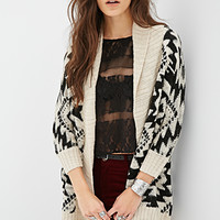 FOREVER 21 Tribal Pattern Longline Cardigan Black/Oatmeal