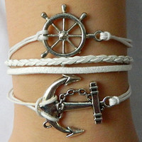 Sail away and never separate together   Anchor and Rudder  White braided bracelet