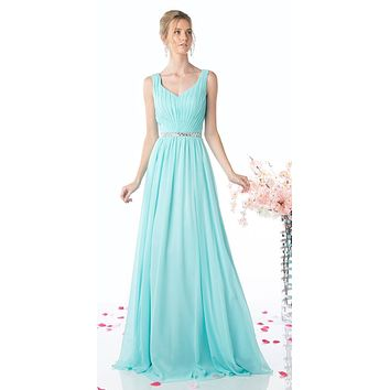 CLEARANCE - Floor Length Aqua Gown Sleeveless Pleated Rhinestone Waist (Size 10)