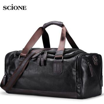 DCCK7N3 Men's PU Leather Gym Bag Sports Bags Duffel Travel Luggage Tote Handbag for Male Fitness Men Trip Carry ON Shoulder Bags XA109WA