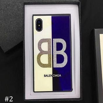 Balenciaga tide brand couple iphone7plus glitter glass shell mobile phone case cover #2