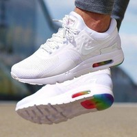 NIKE Air Max Rainbow Sole White Fashion Men Running Sport Casual Cushion Shoes Sneaker