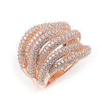 Sterling Silver Rose Gold Plated and 6 swirls of CZ Ring
