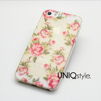 Semi transparent floral pattern phone case for iPhone 4 4S iPhone 5 5S iPhone 5C, red rose flower floral design matte PC cover, E06