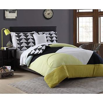 Complete Comforter Bedding Collection Bed Set Bed in a Bag, Pyramid Color Block