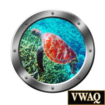 Sea Turtle Coral Reef 3D Porthole Vinyl Wall Decal Underwater Wall Art Peel and Stick Mural Wall Art Portal Art SP31